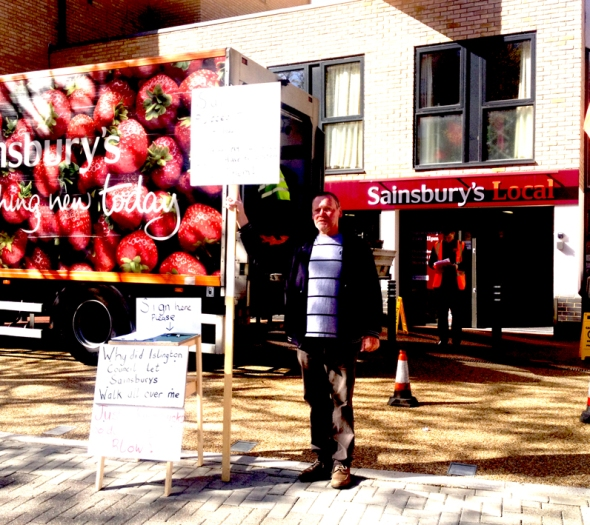 Holloway Road Sainsburys Protestor
