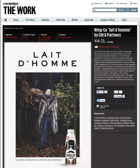 Campain Mags Overview of the Lait D'Homme campaign