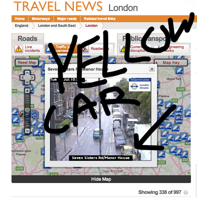 Yellow Car on London Cam!